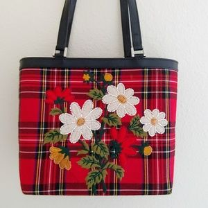 Isabella Fiore Red Plaid & Beaded Floral Bag